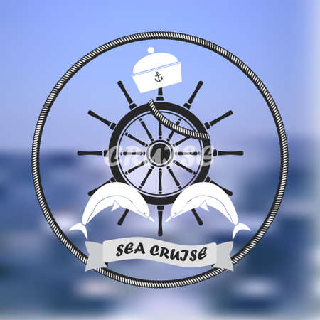 ship steering wheel: Vector logo, blurred sea background,an image is a ship steering wheel, cabin boy, dolphin,logotype designating cruise on a sea Illustration