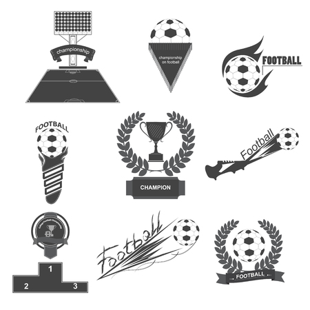 league: A set of vector logos of football, soccer ball, black color,icons on the football theme,sports set icons,sports icon set for soccer tournament