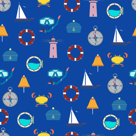 jointless: Jointless pattern on a marine theme.Bright coloured pattern.Marine objects. Illustration
