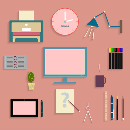 freelancer: The flat set of objects for web designer,web icons with shadows,freelancer uses objects
