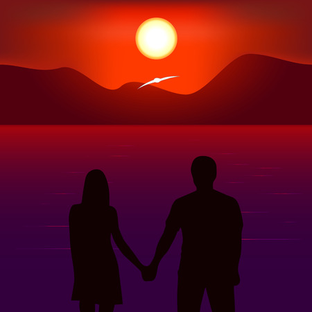 sunset beach: Romantic sunset on the beach. Two people kept for hands. Look at the sunset. Flying gull on a background of mountains Illustration