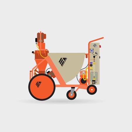 Vector illustration of plaster stations. Plaster walls,buildings. Mechanized work. Machine for plaster walls. The work of plastering machine