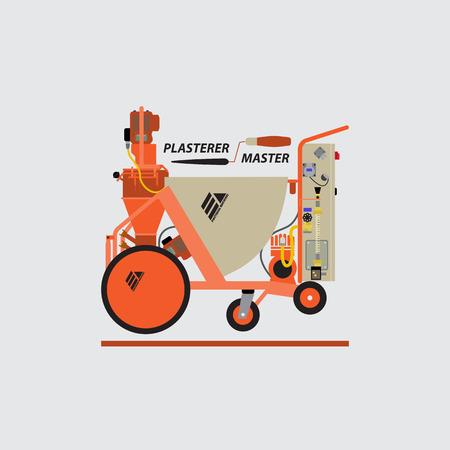 plastering: Vector logo of plaster stations. Plaster walls,buildings. Mechanized work. Machine for plaster walls. The work of plastering machine. The logo for the blog.