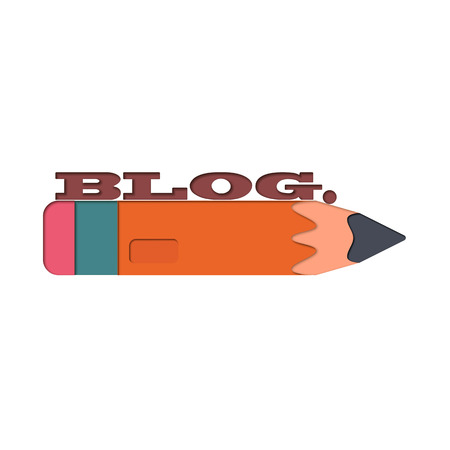 weblog: Icon blog. The layout of the blog. Pencil with text that symbolizes social blog.