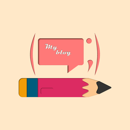 weblog: Vector illustration design blog. Social Blog. On the background of a die a pencil and a text. Bright,colorful design of your blog.