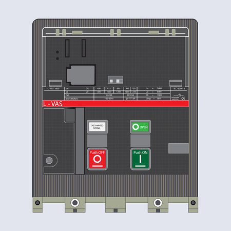 electric current: Low-voltage automatic switches. Inclusion, shutdown of an electric current. The electric device on a white background. Illustration