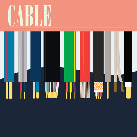 Cable of different section. A die with a word in top of a picture. A version of electric cables. Uses of the poster in the industry. Illustration