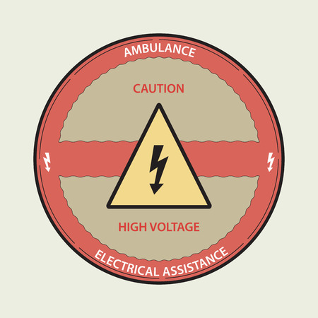 Prohibiting sign. An electricity - a warning sign. A sign warning of danger. A high