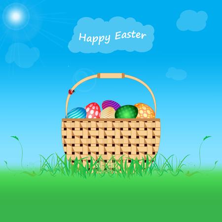 Postkarte Frohe Ostern. Eier unterschiedlicher Farbe lag in einem Gras, auf einem Hintergrund auf dem Kunst Rahmen. Helle sanften Farben. Vektorgrafik