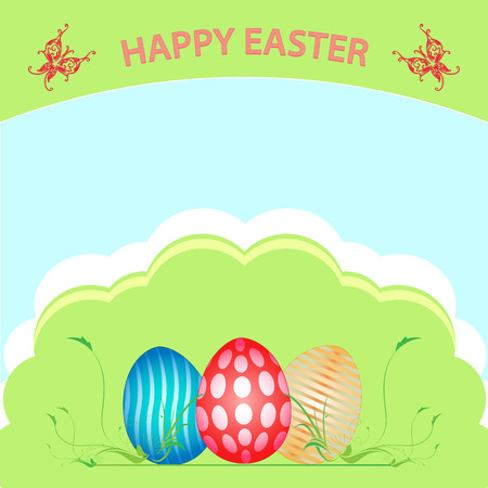 Happy Easter. A basket full of eggs festive. Painted eggs in the basket. Basket stands on grass, full of Easter eggs. Sky, sun, clouds, grass.