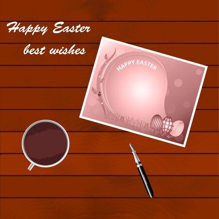 miracles: Greetings from the Holy Easter. Greeting card lying on a wooden table. A cup of coffee costs on a wooden table. Pen for writing greetings to the Holy Easter. Day of Resurrection of Jesus Christ. Illustration