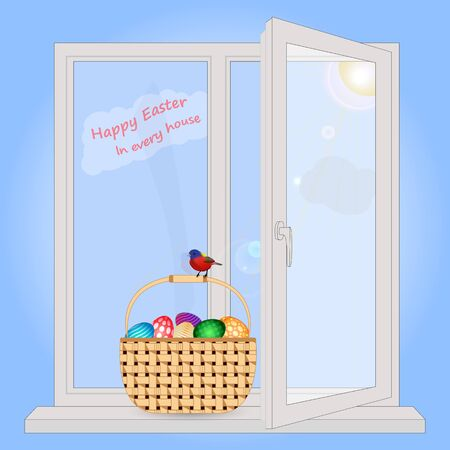 window sill: Basket with Easter eggs is on the window sill. Postcard with Easter greetings. In a basket sitting spring bird. Easter in every home. The sun rays shine through the window.
