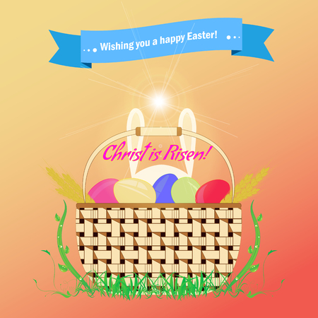 christ is risen easter: Basket with Easter eggs is standing on the grass. Feast of Holy Easter. Greeting card with Happy Easter day. Caption Christ is Risen. Illustration