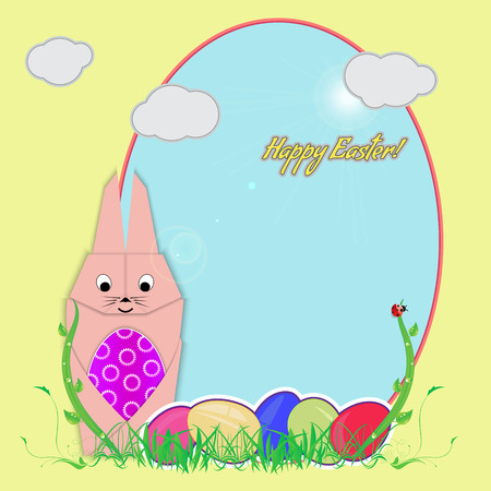 believer: Postcard with the Easter Bunny. The Easter Bunny is holding an Easter egg. Vector illustration, on the background of the frame and Easter eggs lie in the grass. Illustration