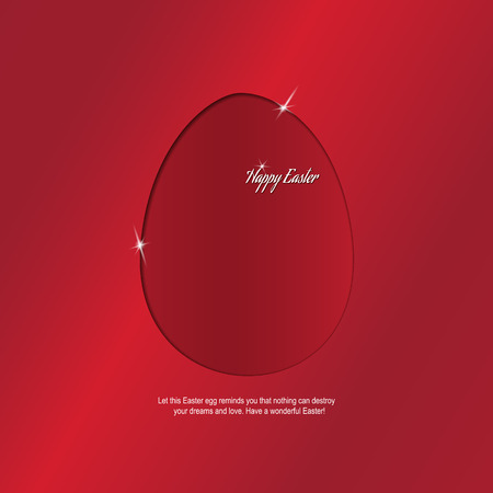 believer: Colorful Egg with congratulations of the Holy Easter. Bright red background with elements of the glow and text. Stylish greeting. Postcard with Easter greetings.