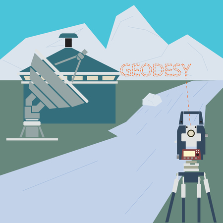 geodesy: The geodetic device. Tachymeter in construction. The background image of construction. The measuring device in construction. Illustration