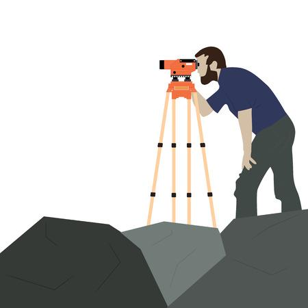 Człowiek z instrumentem geodezyjnym na skale. Prace inspektora. Urządzenie i mężczyzna na białym tle.