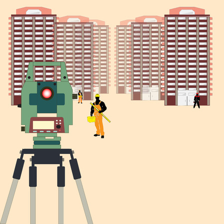 Urządzenie geodezyjny na tle budynków miejskich. Pracownik specjalności budowlanych. Wyposażenie geodety. Budowa domów wielokondygnacyjnych.