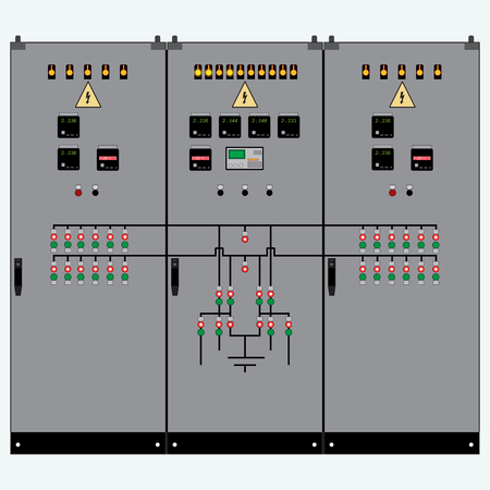 Picture of the electrical panel, electric meter and circuit breakers,high-voltage transformer Ilustração