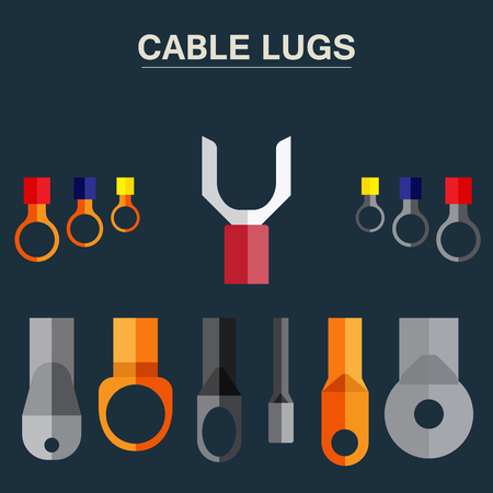 lug: Cable tip - copper, aluminium for connection of electric wires. A poster with the image of cable tips.