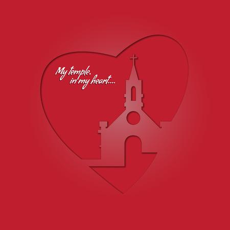 당신의 마음 속에있는 성전. 교회와 빨간색 배경에 심장. 종교 축제에서 인사말 카드입니다.