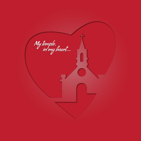 Temple in your heart. Church and heart on a red background.Bright greeting card in a religious festival.