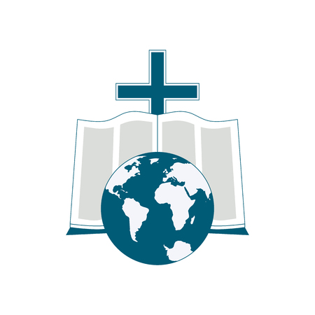 Religious symbol of Bible reading around the world. The image of the globe, the Bible, the cross as icons. Illustration