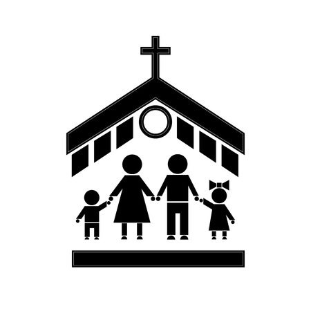 church service: Figures of people. People go to church family. The family attends church. Symbols of people.