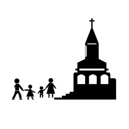 familia en la iglesia: Figuras de la gente. La gente va a familia de la iglesia. La familia asiste a la iglesia. Símbolos de las personas.