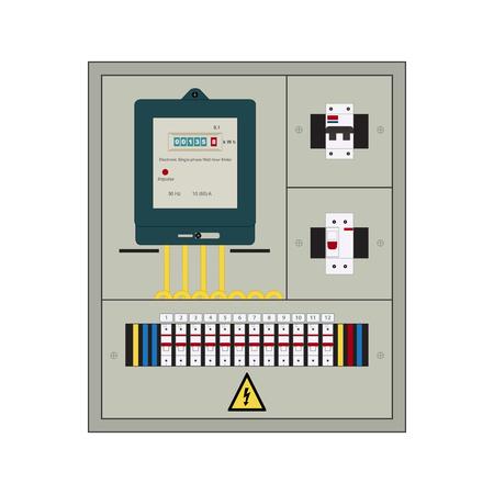 Bild Von Der Schalttafel, Stromzähler Und Leistungsschalter ...