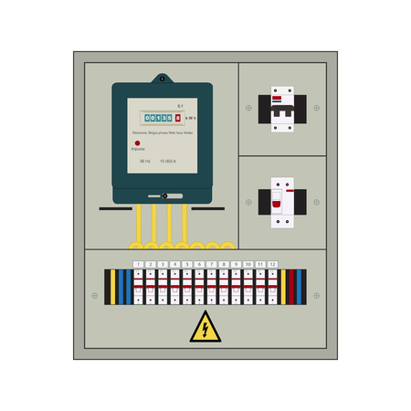 electric meter: Picture of the electrical panel, electric meter and circuit breakers Illustration