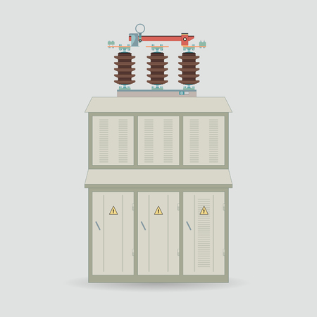 transformer: Electrical transformer and isolator. Electric substation in a flat style. Electrical Transformer booth. Illustration