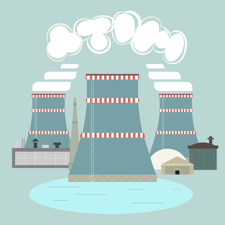 nuclear power plant: Nuclear power plant with abstract text. Nuclear power plant in a flat style. Operation and construction of a nuclear power plant. Illustration