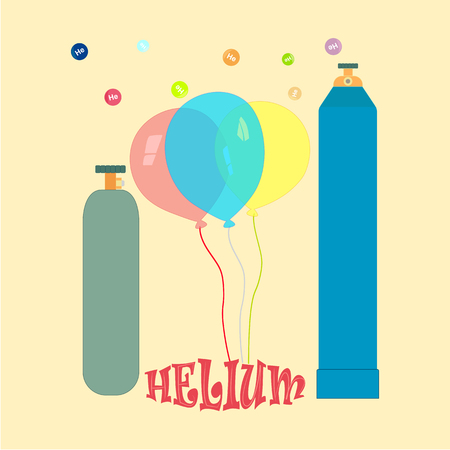 liquefied: Balloons, metallic cylinders with helium. A picture symbolizing the inflation of the balloons liquefied gas-helium.