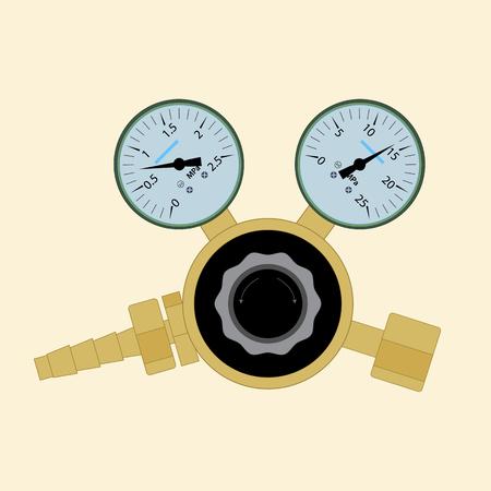 Regulador de presión para la soldadura de gas. El dispositivo para la medición de la presión de oxígeno en cilindros.