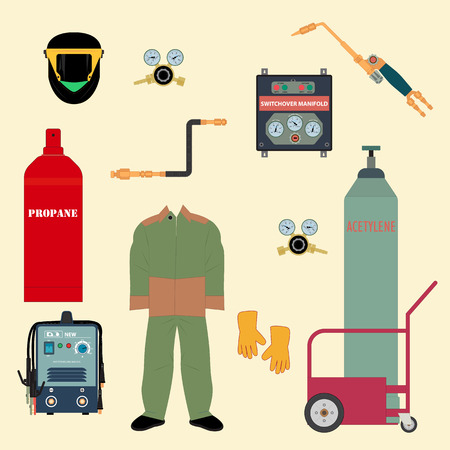 Welding equipment and protective clothing for gas welding and electric welding. Set of vector icons in flat style. Illustration