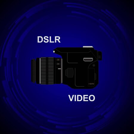 dslr camera: The camera on the bright background. DSLR camera for shooting video. Commercials on the camera.