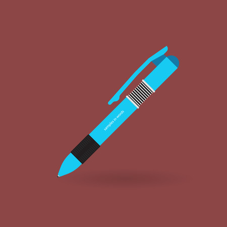 matter: Ball pen on the isolated background. Subject matter for records on a paper. An icon for a blog.