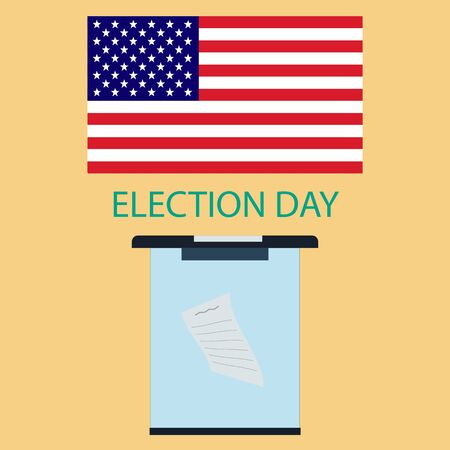 suffrage: The poster to the day of voting in America. American flag and a ballot box in a flat style.