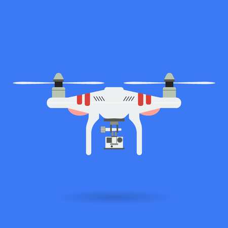 radio activity: Quadrocopter and camera on blue background with shadow. Aerial photography using drones and suspended camera