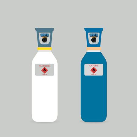 Gasflaschen in verschiedenen Farben. Zylinder für Flüssiggas. Gasflaschen für Schweißen.