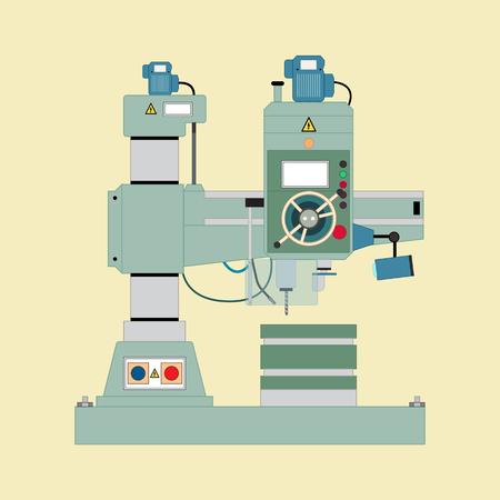 machine tool: image of boring mill, flat style.