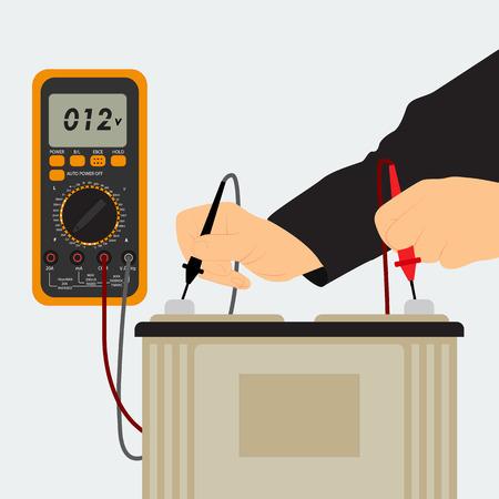 남자 어플라이언스는 배터리 전압을 측정한다. 기계 배터리와 멀티 미터입니다.