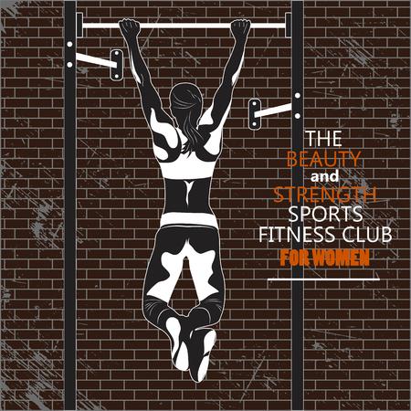 Deporte club de fitness. La mujer en una viga transversal deportes. La mujer se dedica a la sala de fitness.