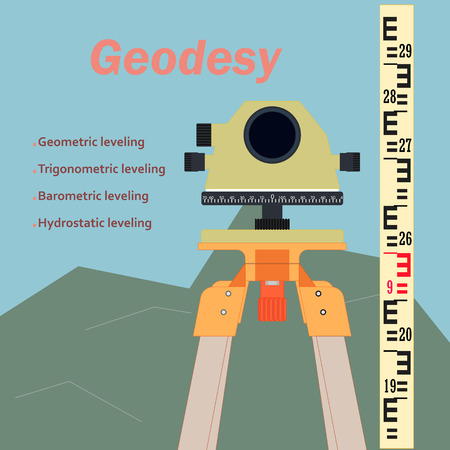 topography: The geodetic device. Topography in construction. The background image of construction. The measuring device in construction.