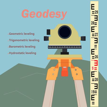 Urządzenie geodezyjne. Topografia w budownictwie. Tło obrazu konstrukcji. Urządzenie pomiarowe w konstrukcji.