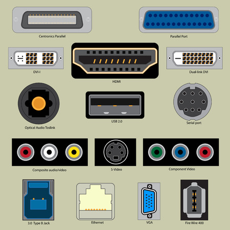 vga: A set of computer ports. Connecting the cable to the computer port.