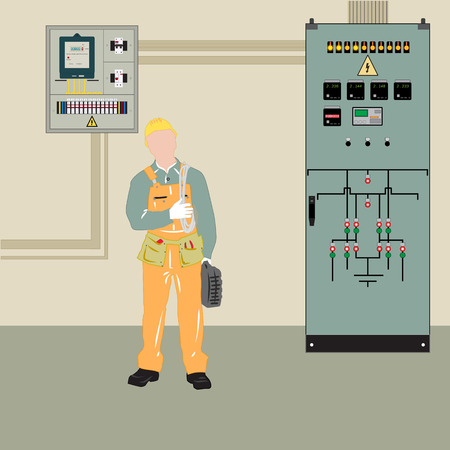 breaker: Electrician makes electrical equipment. Electrical panel and transformer, provides the supply. Illustration