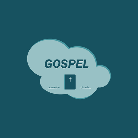 gospel: The logo with the gospel inside the cloud. Salvation in the book of the gospel.
