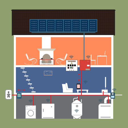 electrical panel: Electrical technology home Illustration